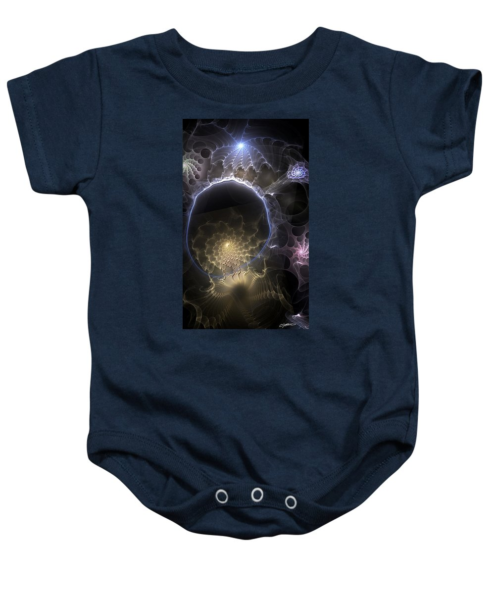 Abstract Baby Onesie featuring the digital art Indefinable Expressions by Casey Kotas
