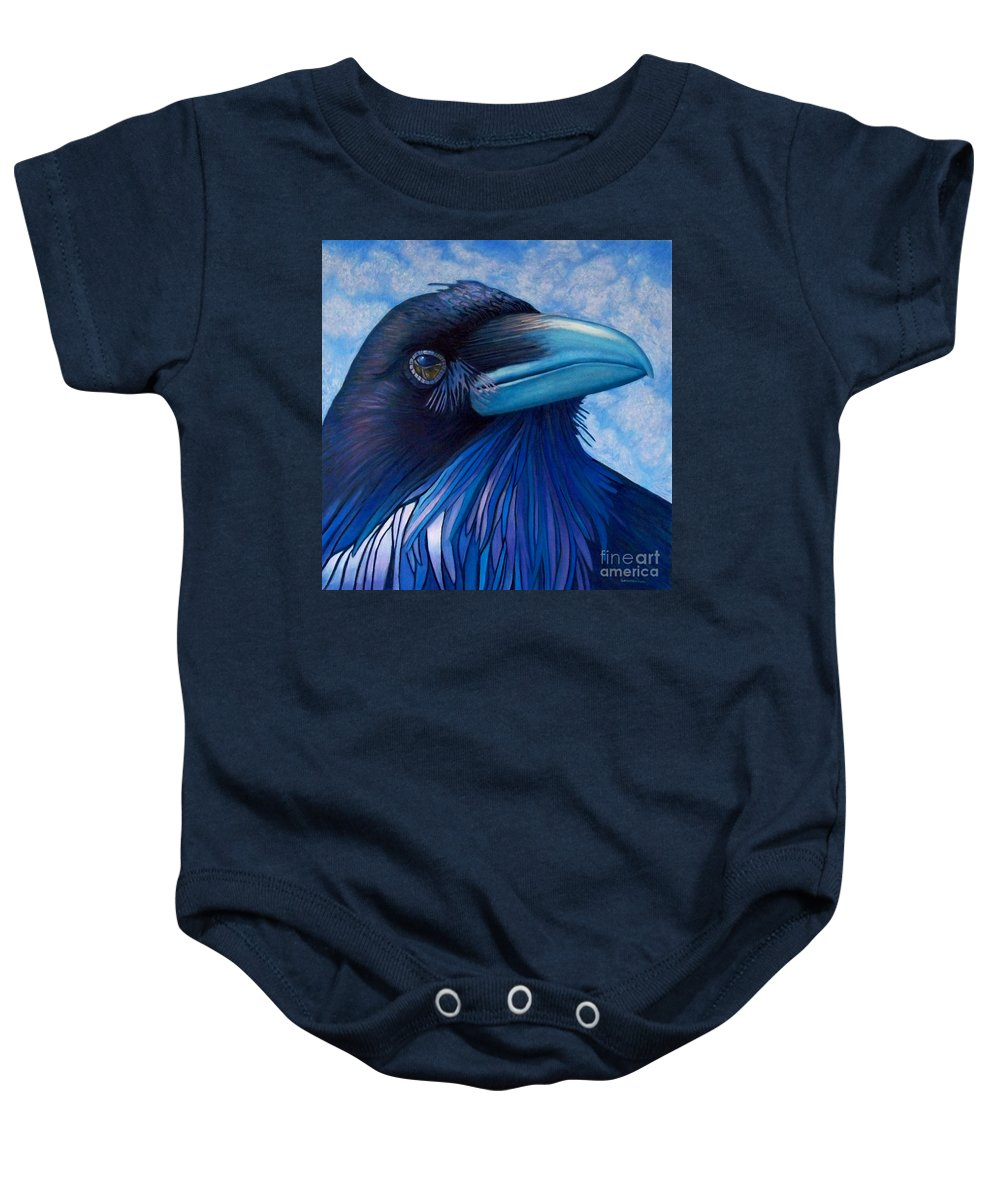 Raven Baby Onesie featuring the painting Inner Knowing by Brian Commerford