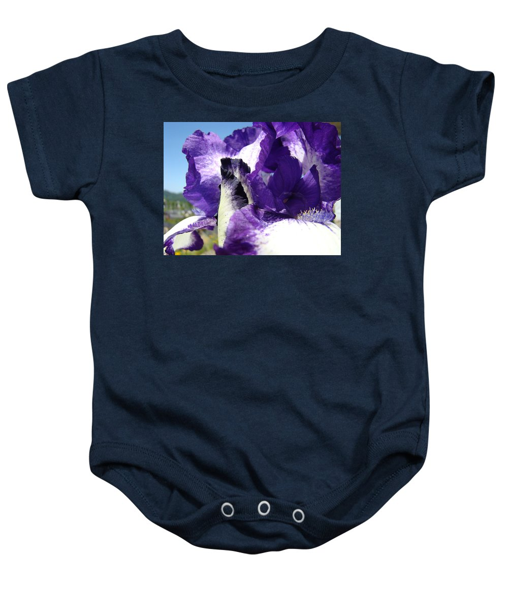 �irises Artwork� Baby Onesie featuring the photograph Iris Flower Art Print Purple Irises Botanical Floral Artwork by Baslee Troutman