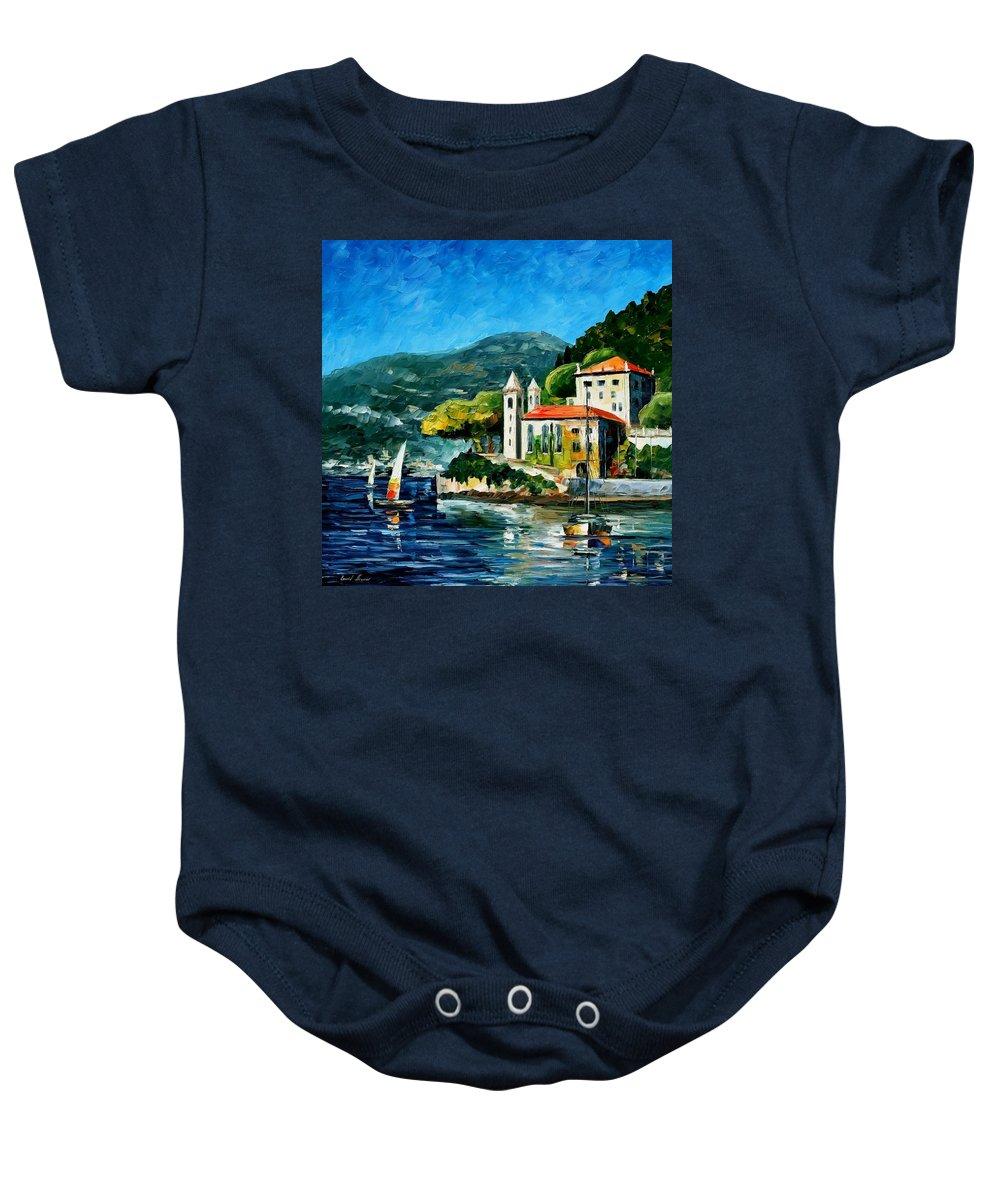 Afremov Baby Onesie featuring the painting Italy - Lake Como - Villa Balbianello by Leonid Afremov