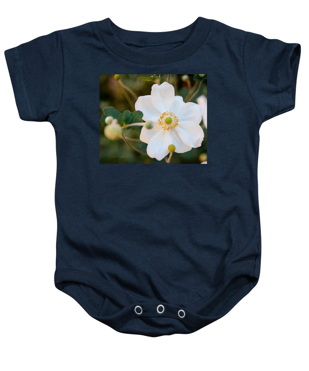 Anemone Baby Onesie featuring the photograph Japanese Anemone by Terri Harper