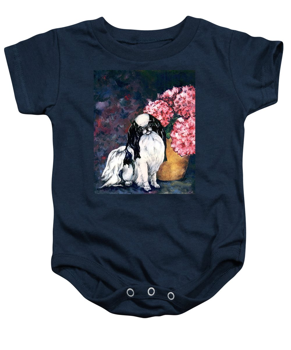 Japanese Chin Baby Onesie featuring the painting Japanese Chin And Hydrangeas by Kathleen Sepulveda