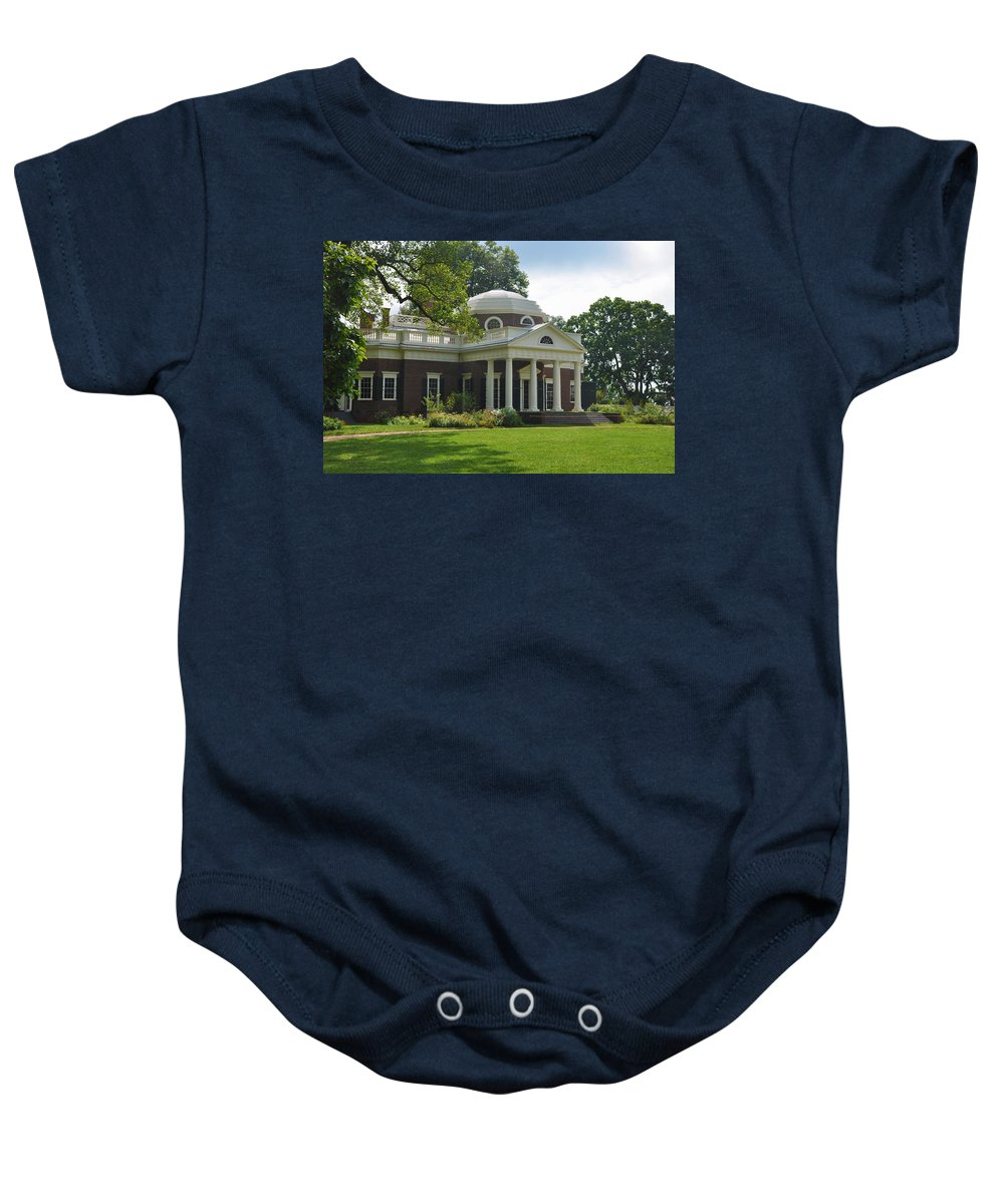 Monticello Baby Onesie featuring the photograph Jeffersons Monticello by Bill Cannon