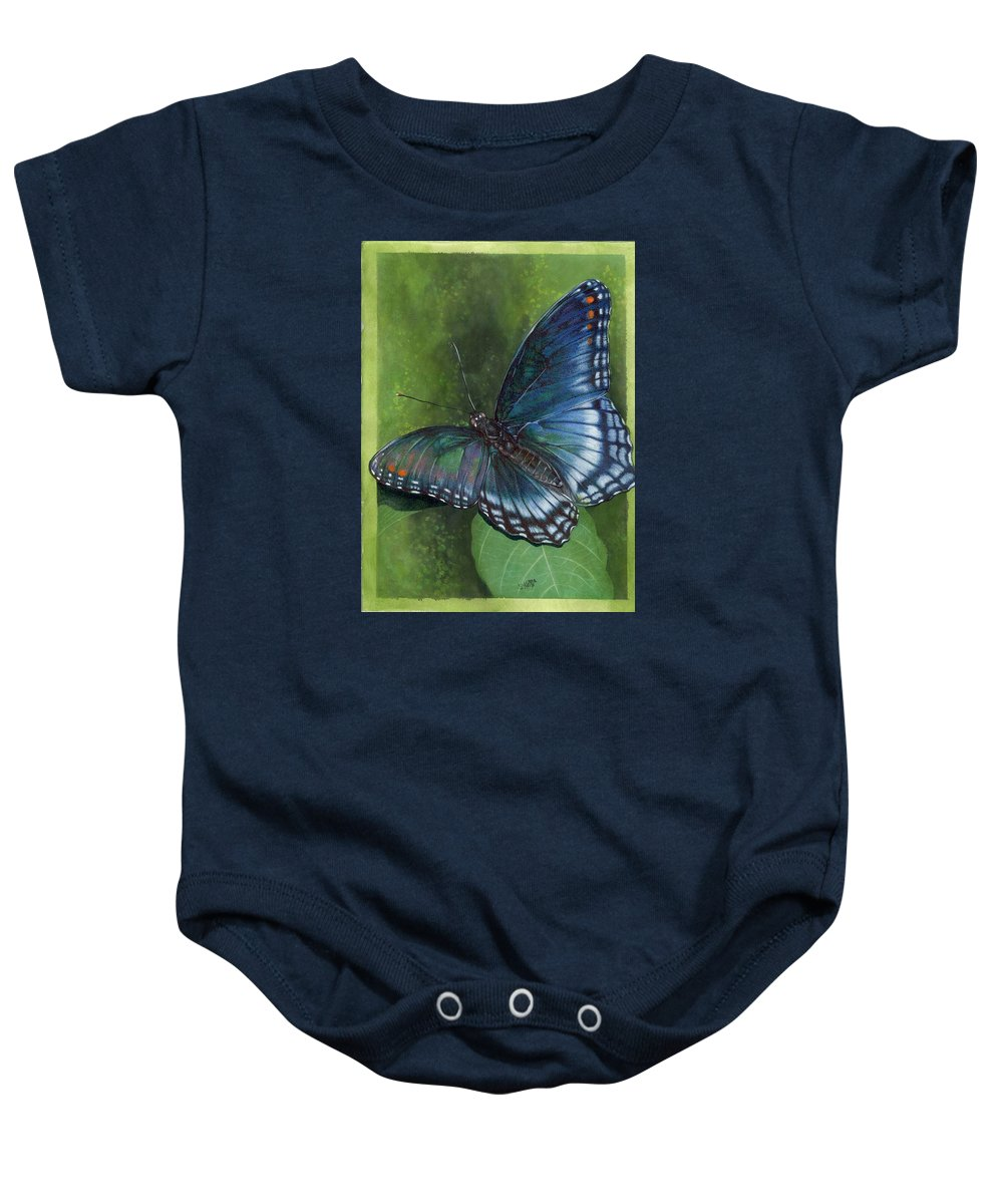 Insects Baby Onesie featuring the mixed media Jewel Tones by Barbara Keith