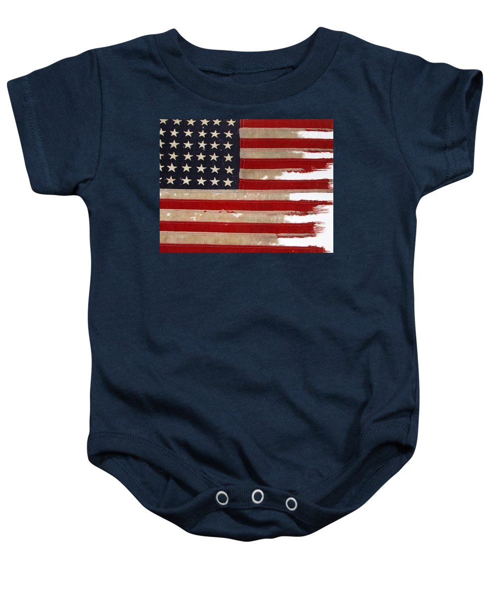 Flag Baby Onesie featuring the photograph Jfk's Pt-109 Flag by Lori Pessin Lafargue
