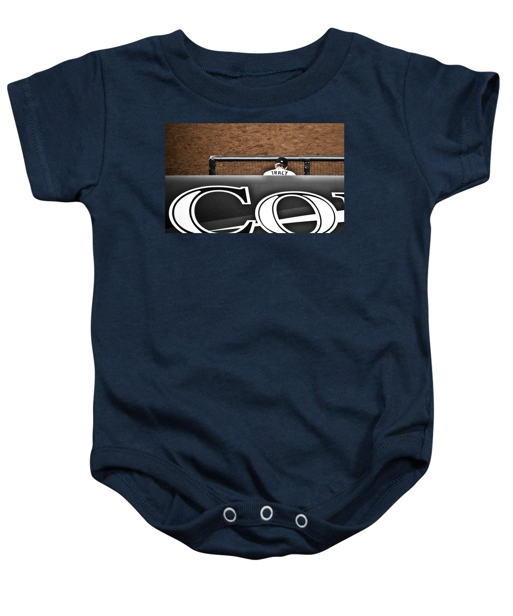 Americana Baby Onesie featuring the photograph Jim Tracy Rockies Manager by Marilyn Hunt