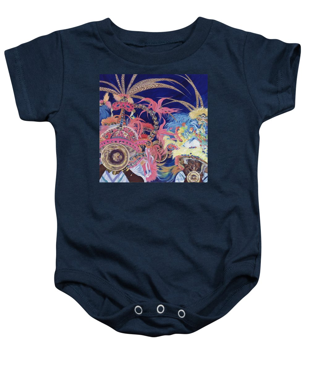 Bahamas Baby Onesie featuring the painting Junkanoo by Danielle Perry