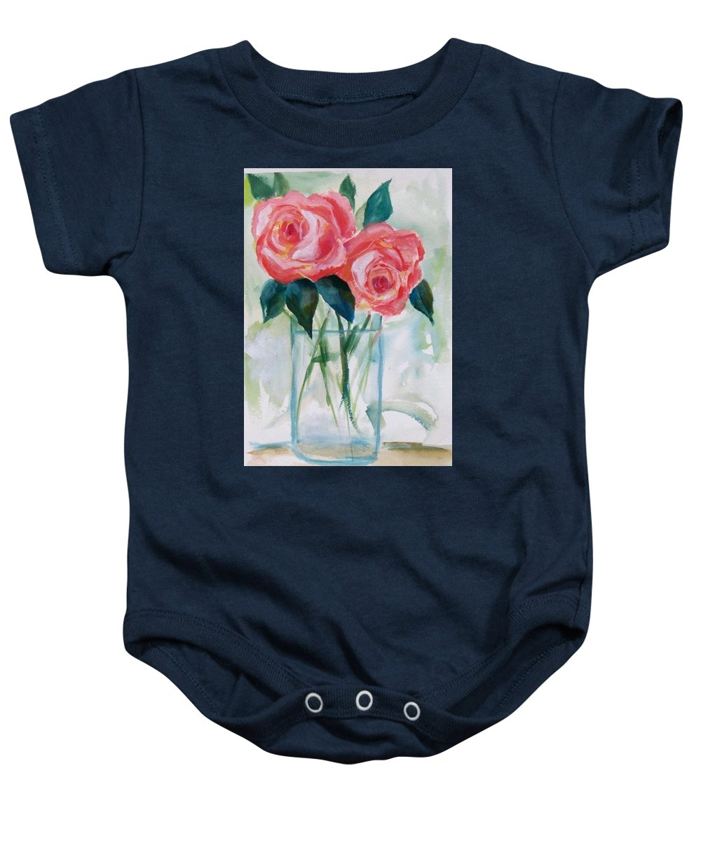 Roses Baby Onesie featuring the painting Jus The Two Of Us by Nataya Crow