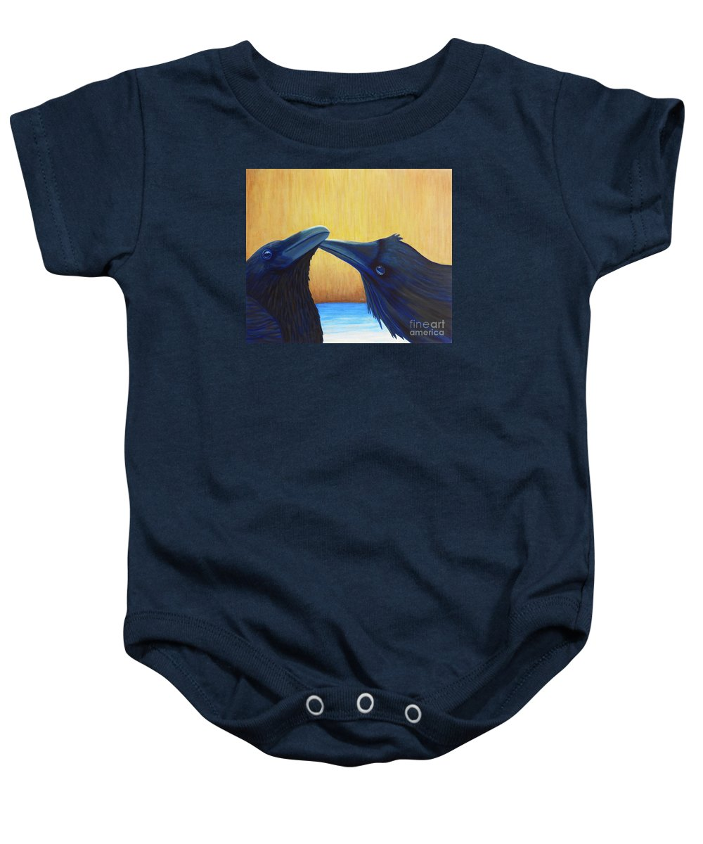 Ravens Baby Onesie featuring the painting K And B by Brian Commerford