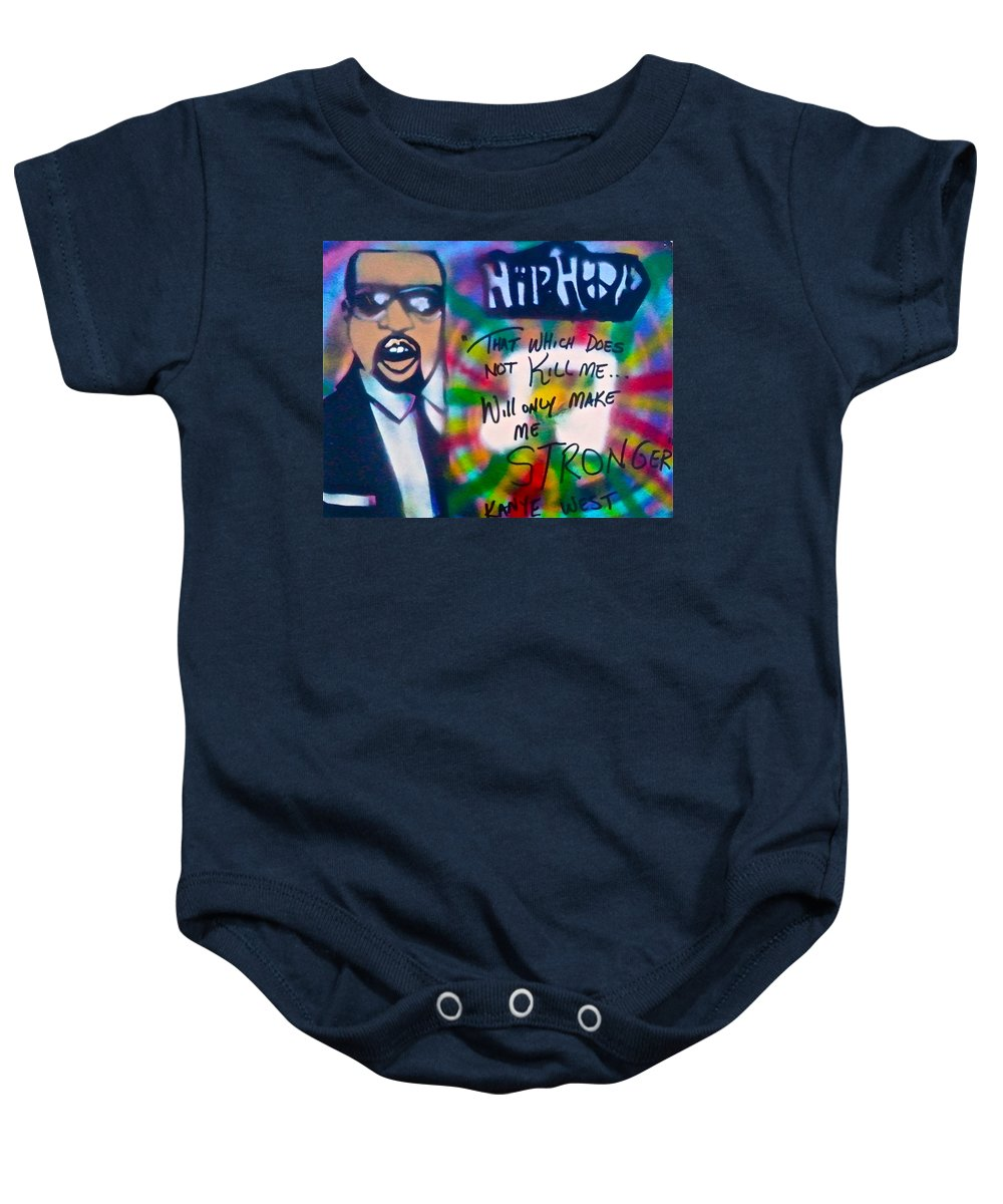 Hip Hop Baby Onesie featuring the painting Kanye West Stronger by Tony B Conscious