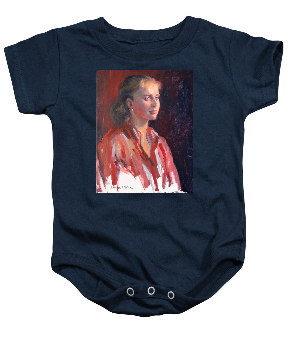 Portrait Baby Onesie featuring the painting Kate by Dianne Panarelli Miller