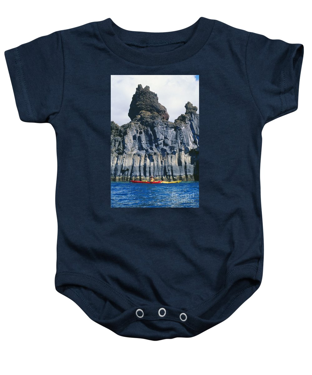 Adventure Baby Onesie featuring the photograph Kayaking Past Cliffs by Ron Dahlquist - Printscapes