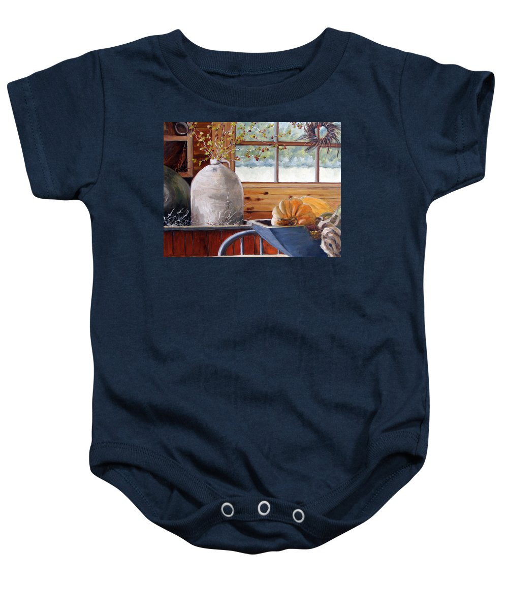 Kitchen Baby Onesie featuring the painting Kitchen Scene by Richard T Pranke