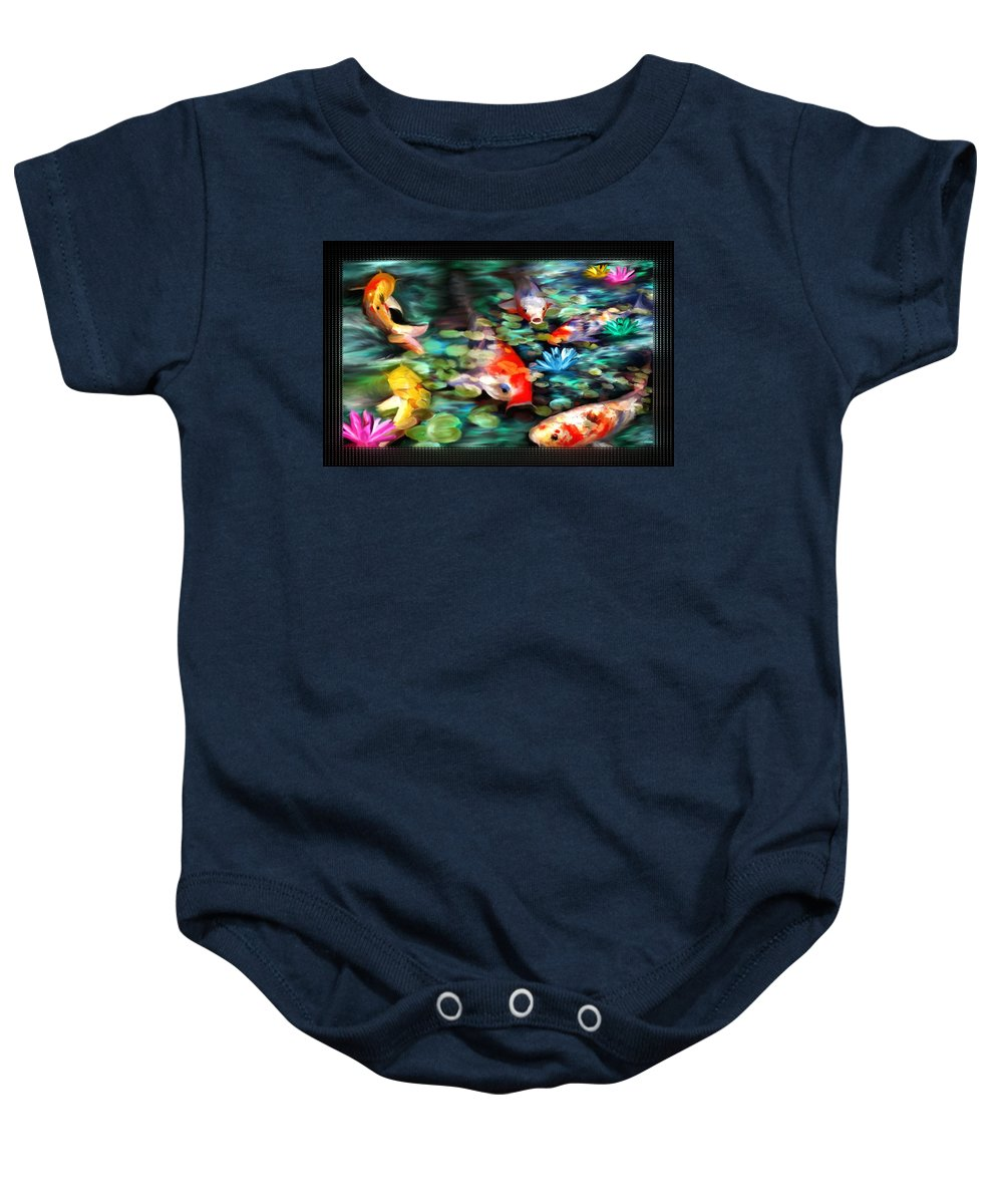 Koi Baby Onesie featuring the painting Koi Paradise by Susan Kinney