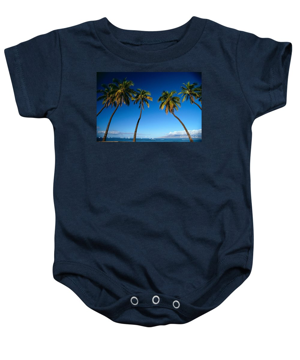Afternoon Baby Onesie featuring the photograph Lahaina, Five Coconut Tre by Carl Shaneff - Printscapes