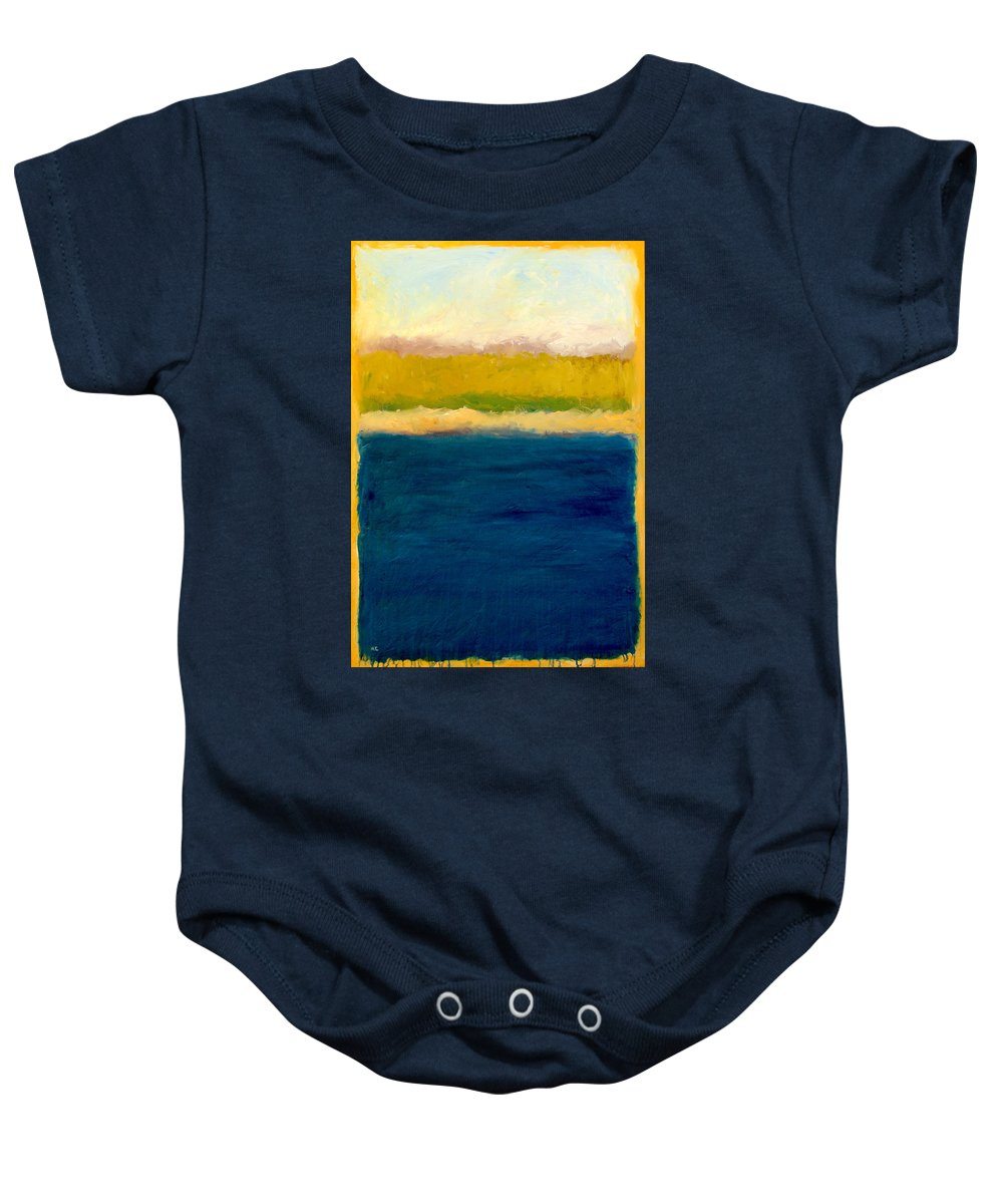 Dunes Baby Onesie featuring the painting Lake Michigan Beach Abstracted by Michelle Calkins