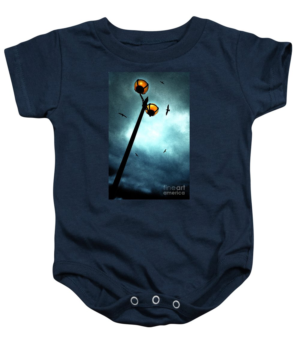 Lamp Baby Onesie featuring the photograph Lamps With Birds by Meirion Matthias