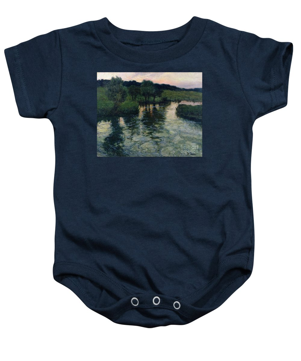 Landscape With A River By Thaulow Baby Onesie featuring the painting Landscape With A River by Fritz Thaulow