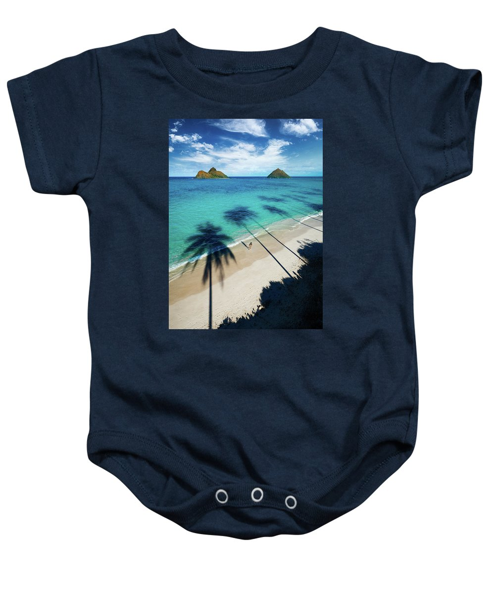 Lanikai Palmtrees Shadows Oahu Ocean Seascape Baby Onesie featuring the photograph Lanikai Shadows by James Roemmling