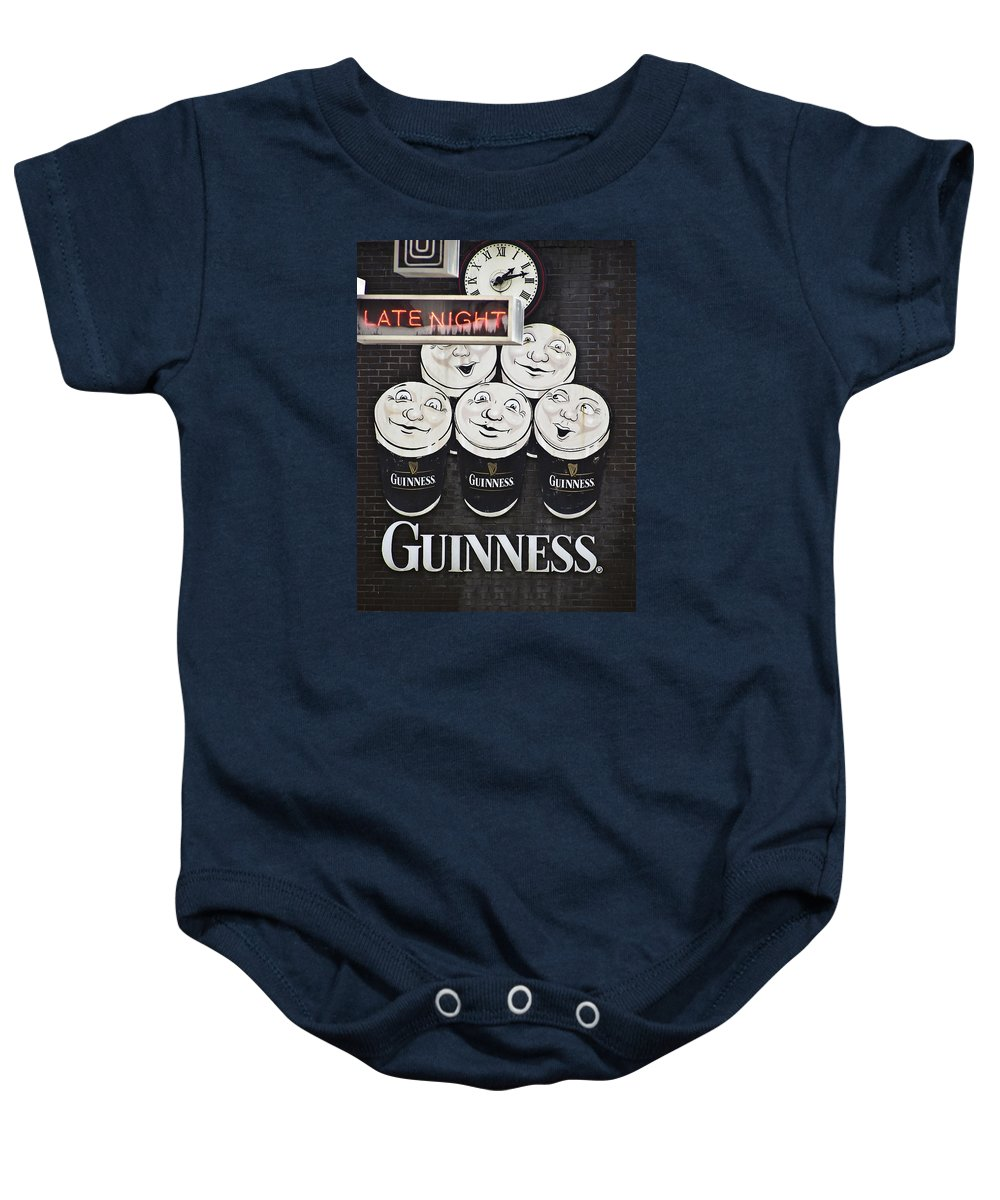 Guinness Baby Onesie featuring the photograph Late Night Guinness Limerick Ireland by Teresa Mucha