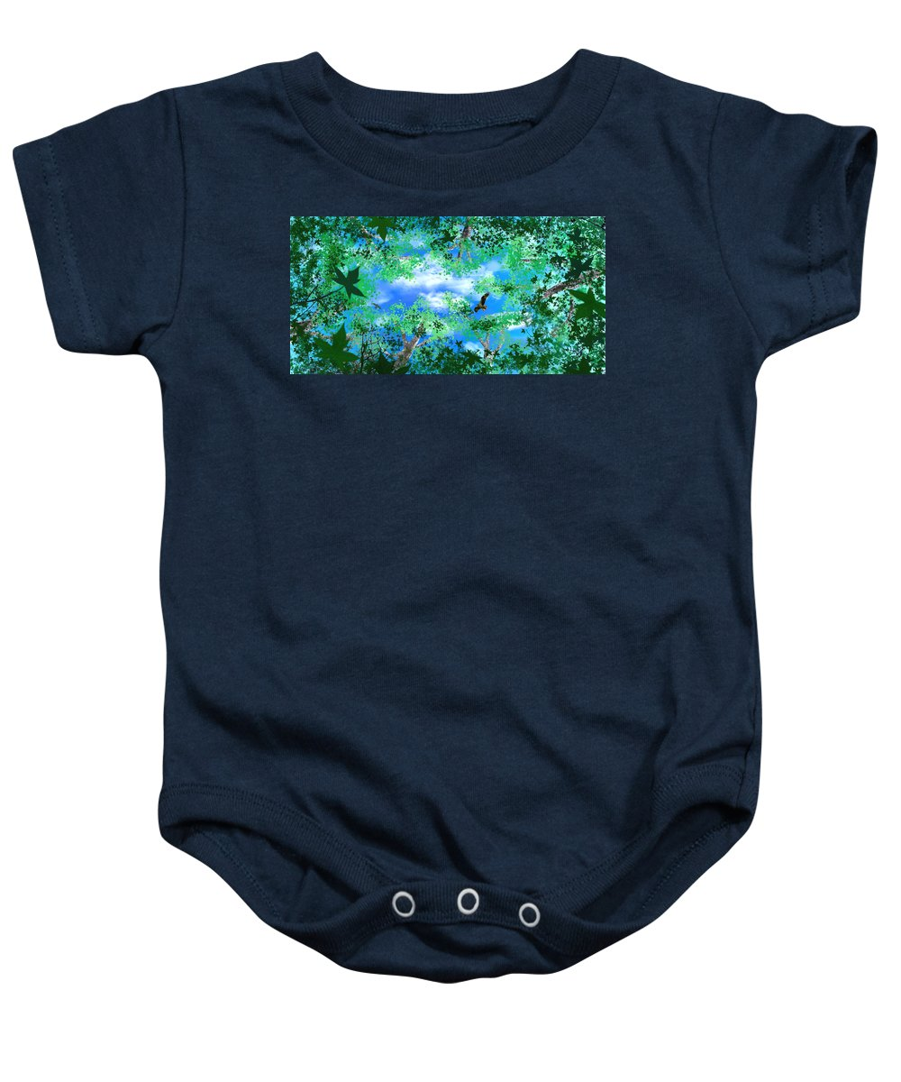 Skyscape Baby Onesie featuring the digital art Laying On A Hammock by Steve Karol