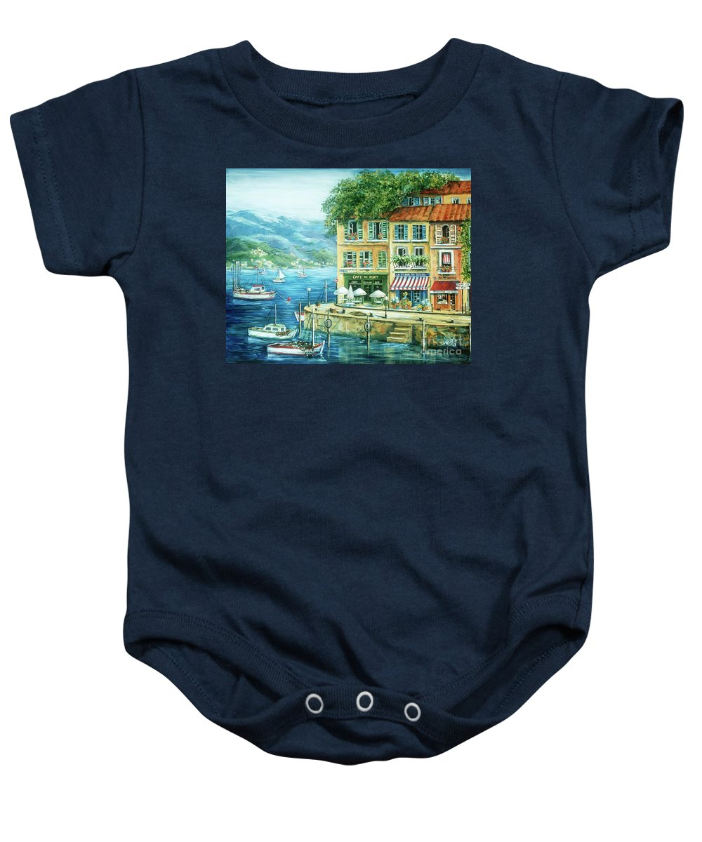 Europe Baby Onesie featuring the painting Le Port by Marilyn Dunlap
