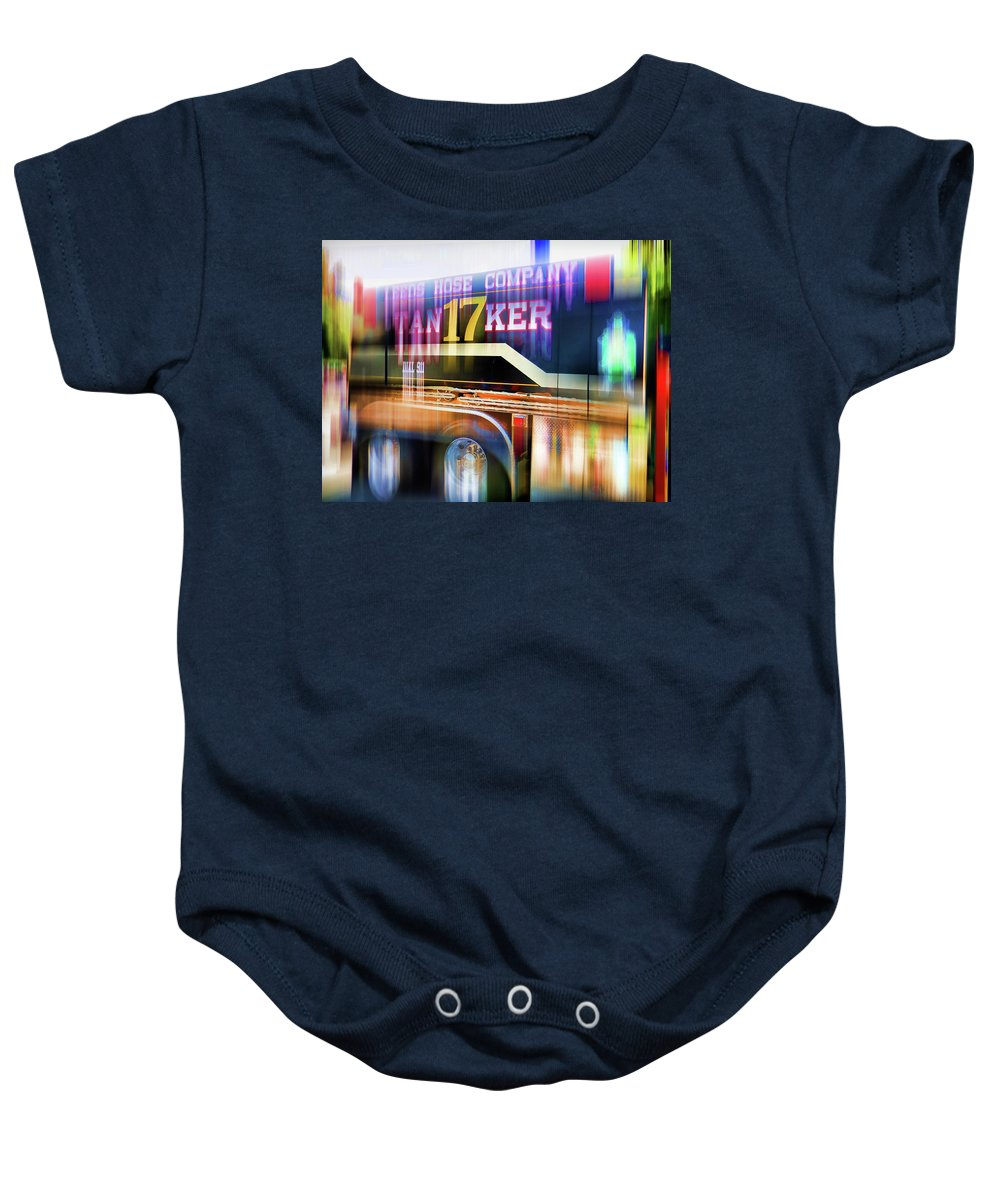 Leeds Hose Company Baby Onesie featuring the painting Leeds Hose Company 3 by Jeelan Clark