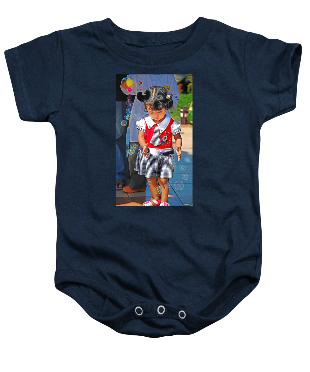 Girl Baby Onesie featuring the photograph Let Me Catch by Charuhas Images