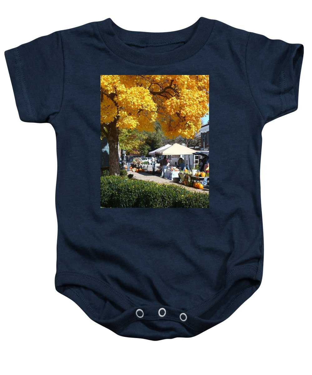 Fall Baby Onesie featuring the photograph Liberty Farmers Market by Steve Karol