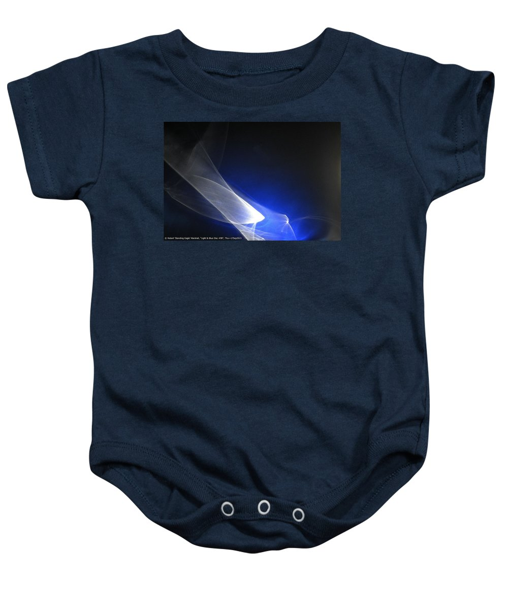 Blue Baby Onesie featuring the photograph ''light And Blue Disc No.98'', Thu--17sep2015 by Robert 'Standing Eagle'