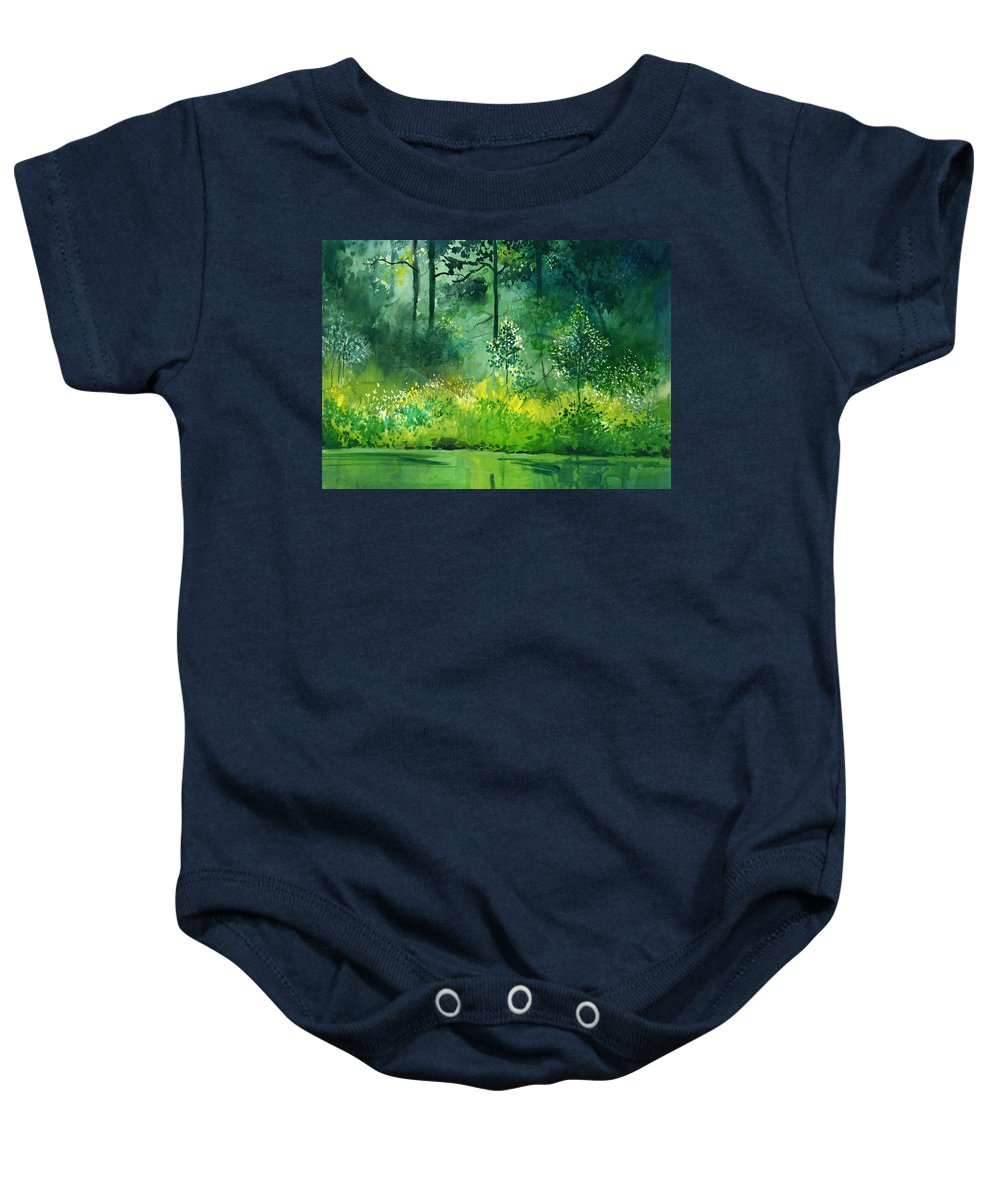 Water Baby Onesie featuring the painting Light N Greens by Anil Nene