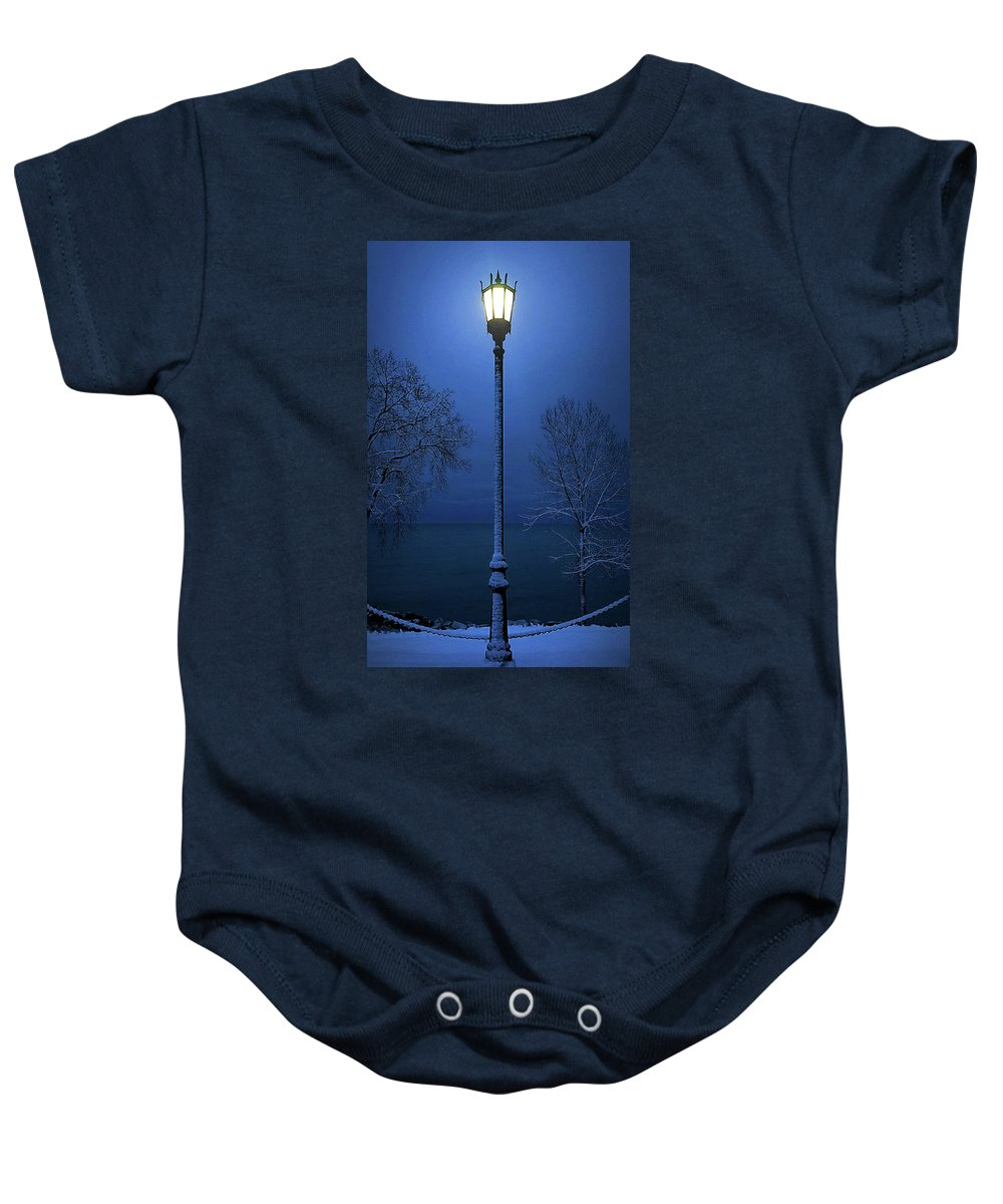 Lamp Baby Onesie featuring the photograph Light Winter Blue by Phil Koch
