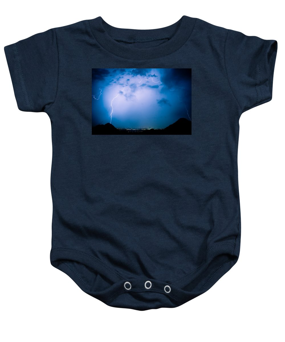 Lightning Baby Onesie featuring the photograph Lightning Rainbow Blues by James BO Insogna