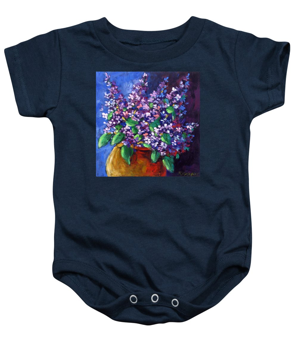 Art Baby Onesie featuring the painting Lilacs by Richard T Pranke