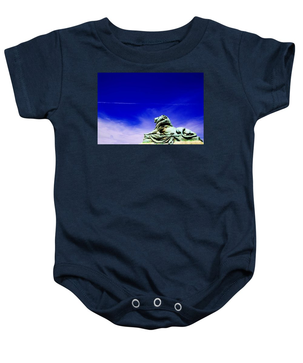 Washington Statue Of Lion Baby Onesie featuring the photograph Lion Bluesky by Alice Gipson