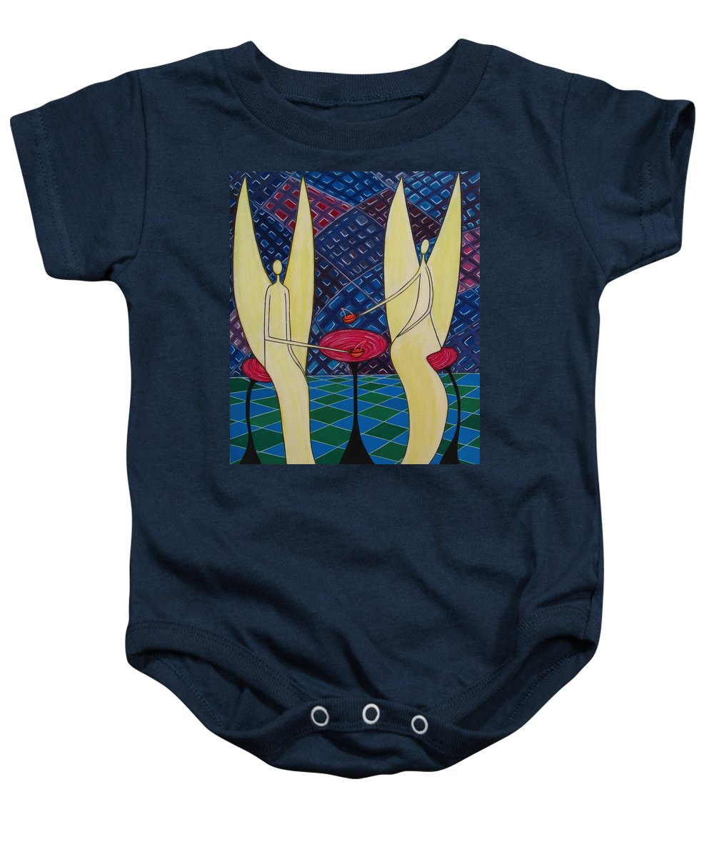 Angels Having Cofee Baby Onesie featuring the painting Lite Tea by Sandra Marie Adams