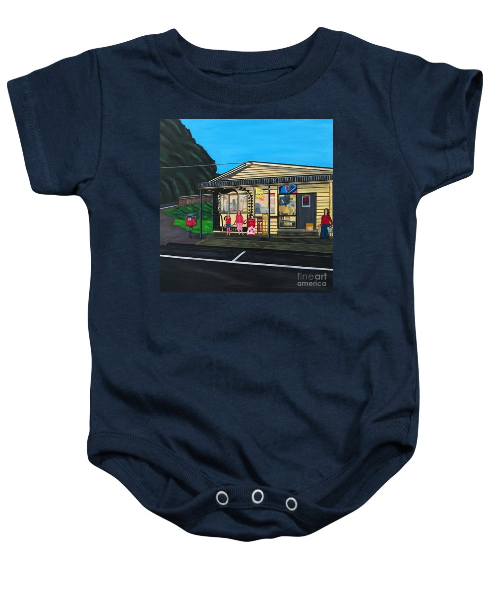 Buildings Baby Onesie featuring the painting Little Oneroa Store by Sandra Marie Adams