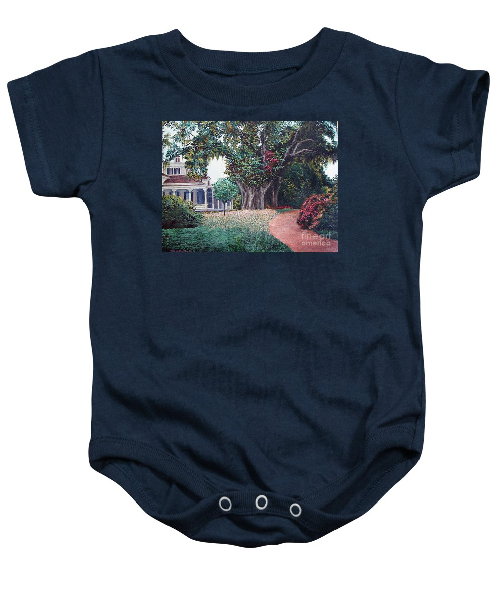 Landscape Baby Onesie featuring the painting Live Oak Gardens Jefferson Island La by Todd A Blanchard