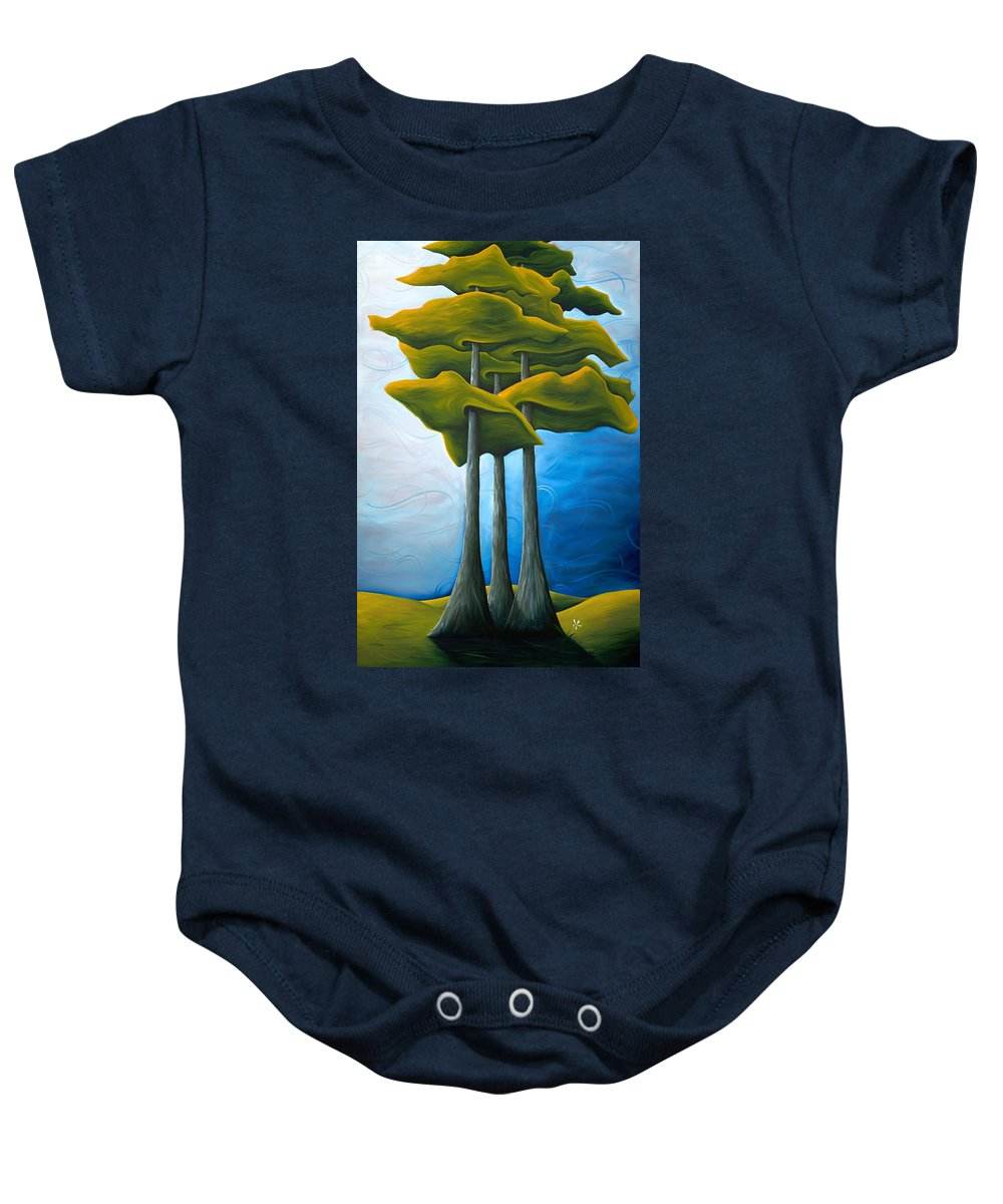 Landscape Baby Onesie featuring the painting Living In The Shadow by Richard Hoedl