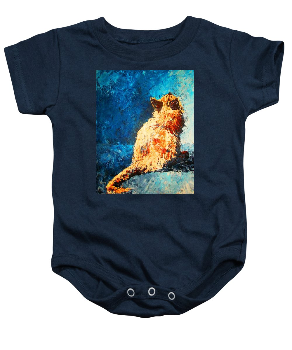 Cat Baby Onesie featuring the painting Looking For Mom by Cindy Johnston