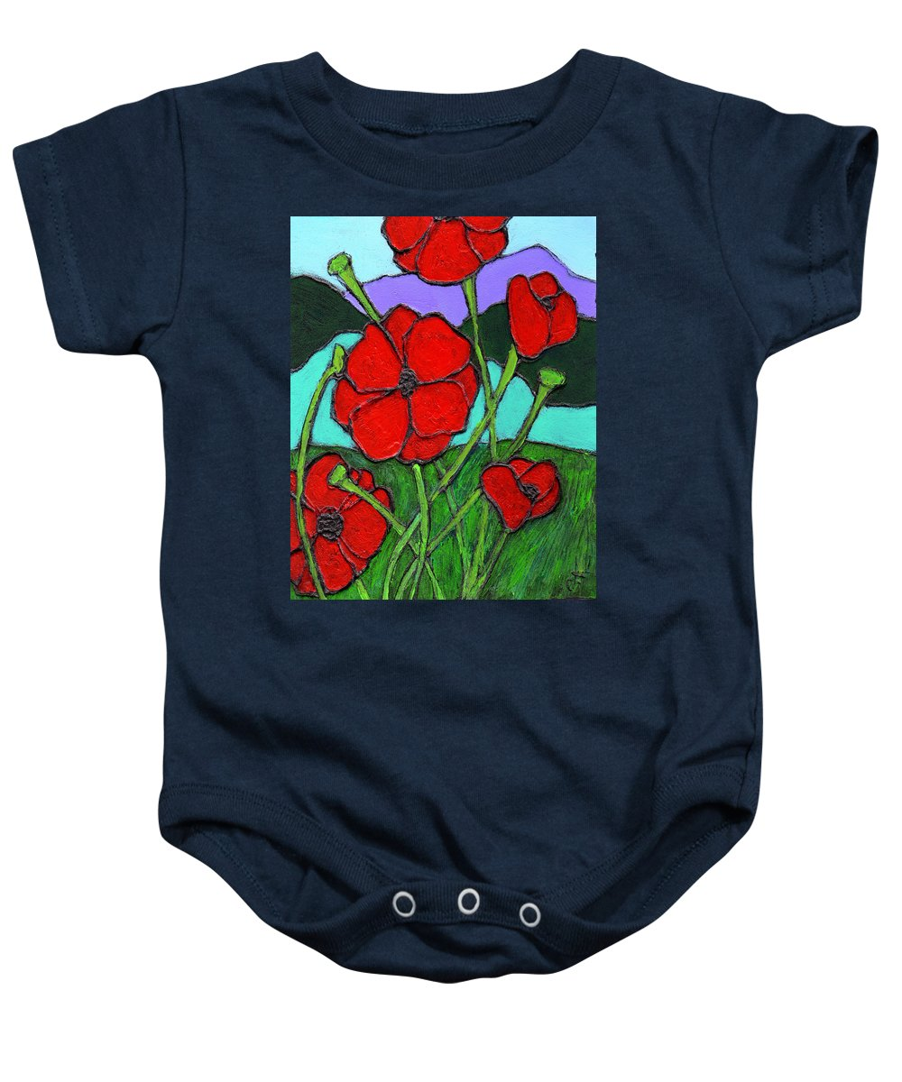 Poppies Baby Onesie featuring the painting Looking Up by Wayne Potrafka