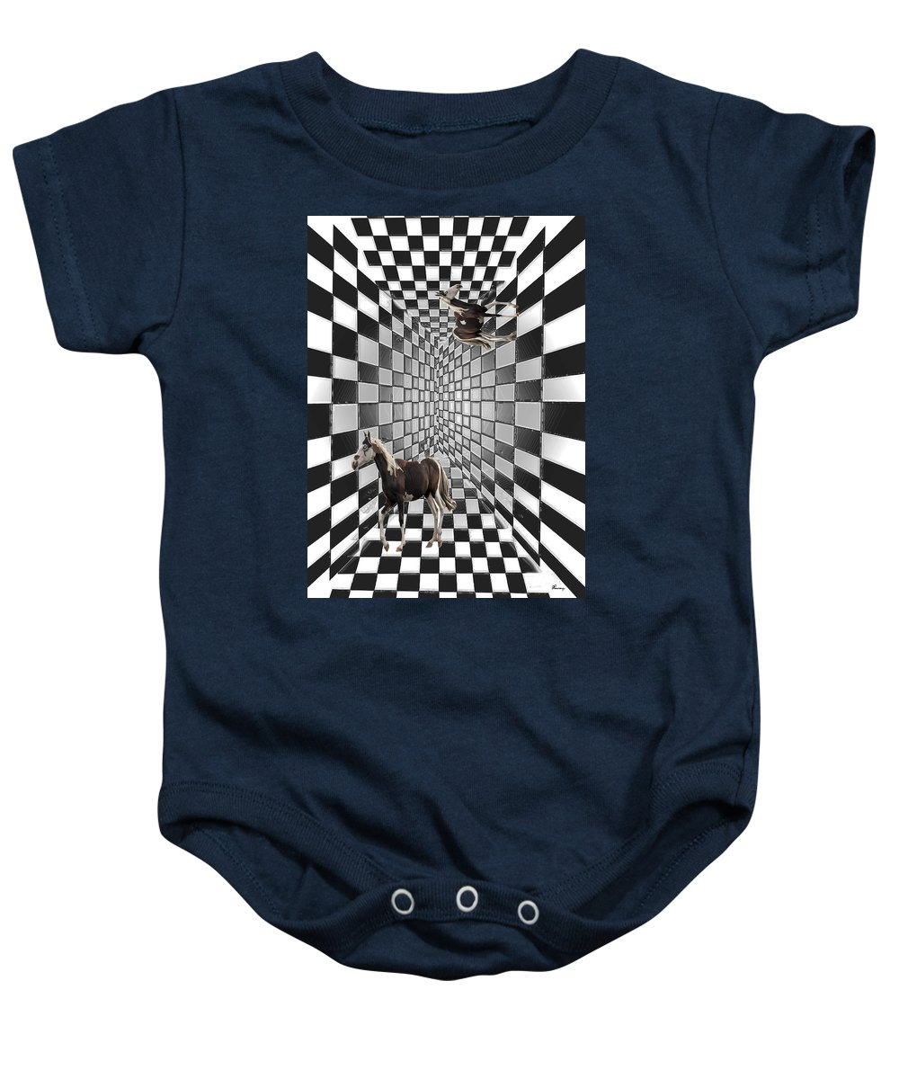 Horse Horses Lost Soul Maze Animal Black And White Paint Digital Artist Regina Sk Baby Onesie featuring the digital art Lost Souls by Andrea Lawrence