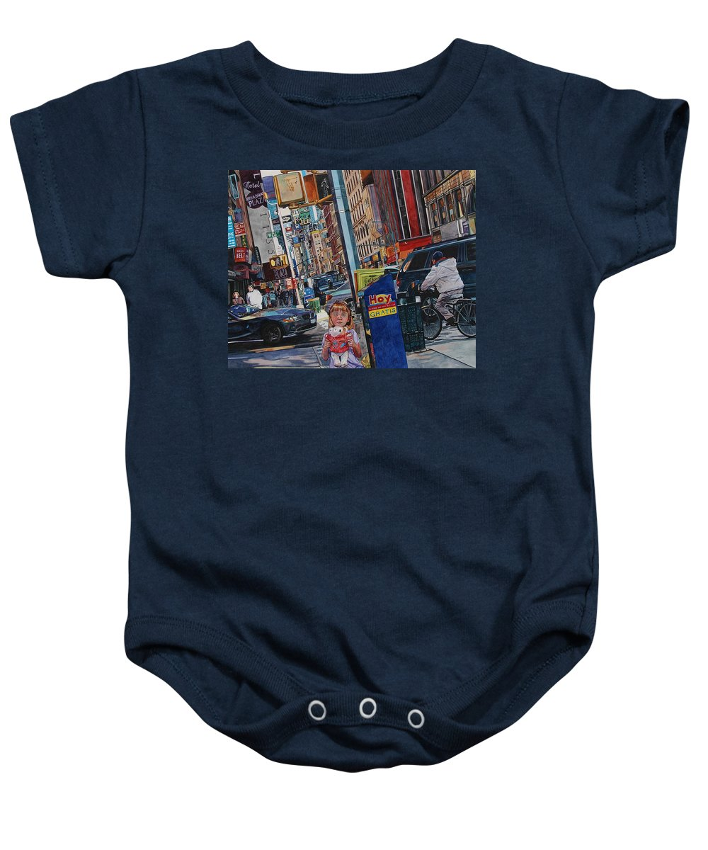 City Baby Onesie featuring the painting Lost by Valerie Patterson