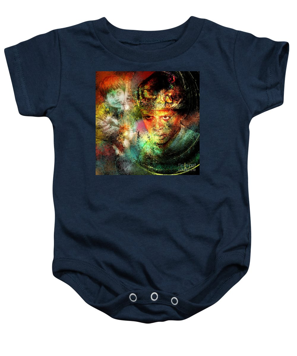 Portrait Baby Onesie featuring the painting Love For The Boy King by Miki De Goodaboom
