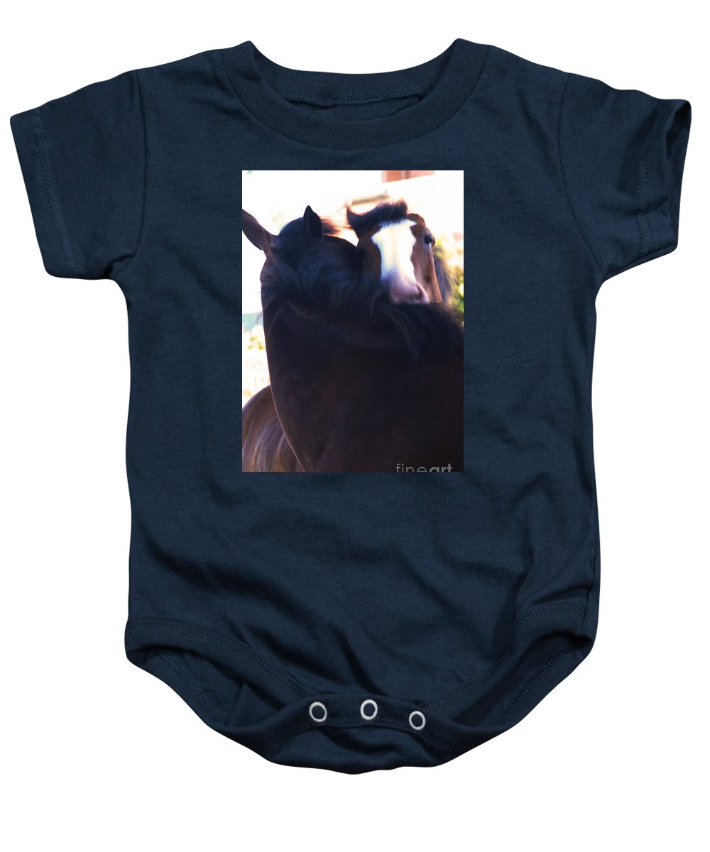 Horse Baby Onesie featuring the photograph Love by Linda Shafer