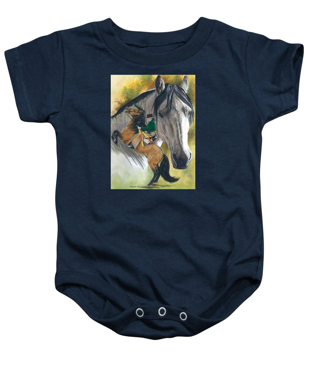 Hoof Stock Baby Onesie featuring the mixed media Lusitano by Barbara Keith