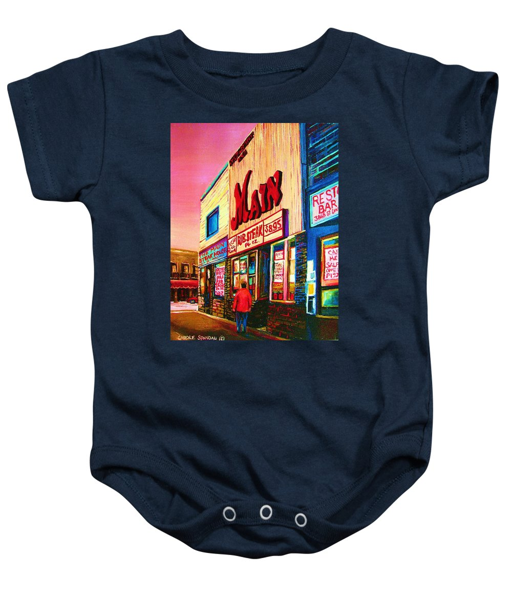 Montreal Baby Onesie featuring the painting Main Steakhouse Blvd.st.laurent by Carole Spandau