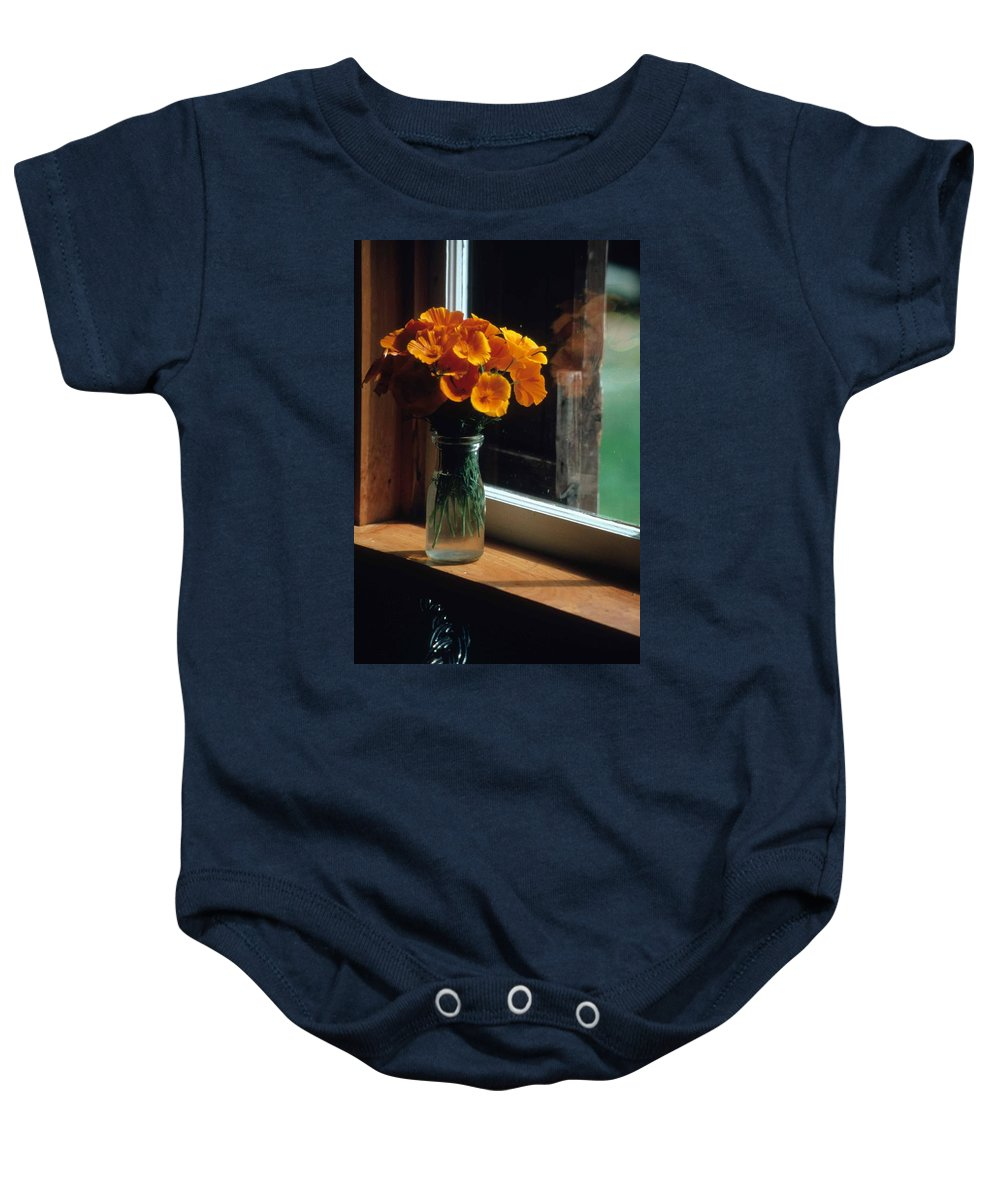 Maine Windowsill Baby Onesie featuring the photograph Maine Windowsill by Laurie Paci