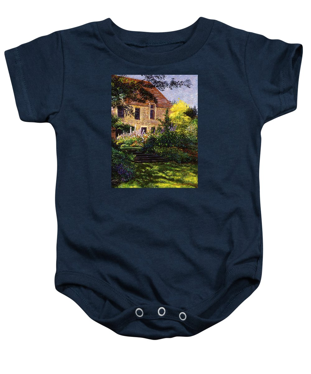 Gardens Baby Onesie featuring the painting Manor House Steps by David Lloyd Glover