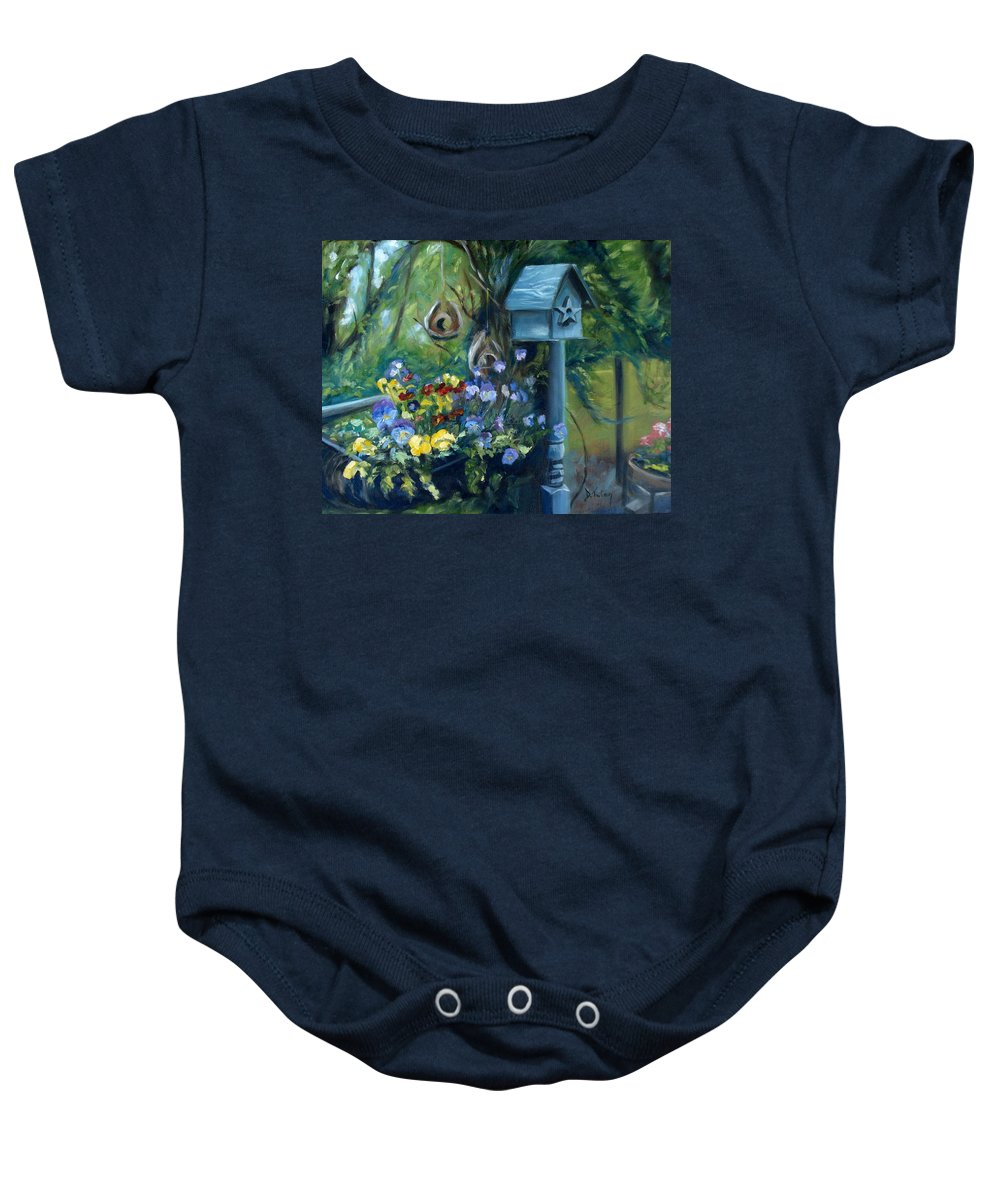 Flower Baby Onesie featuring the painting Marcia's Garden by Donna Tuten